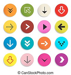 Arrows. Colorful Vector Arrow in Circle. Set of Symbols Isolated on White Background.
