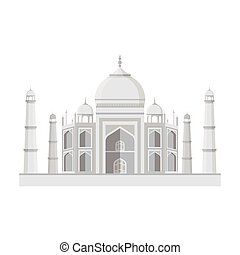 Taj Mahal icon in monochrome style isolated on white...
