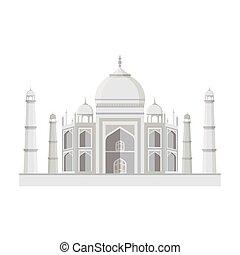 Taj Mahal icon in monochrome style isolated on white...
