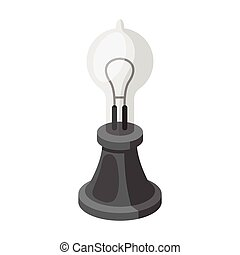 Edison's lamp icon in monochrome style isolated on white...