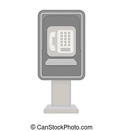 Payphone icon in monochrome style isolated on white...