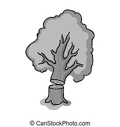 Falling tree icon in monochrome style isolated on white...