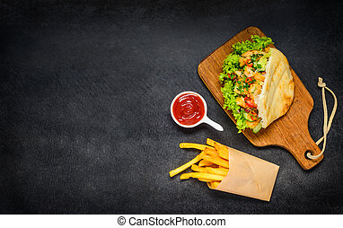 Doner Kebab with French Fries and Copy Space