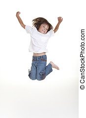 Girl jumps in air.