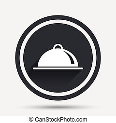 Food platter serving sign icon. Table setting. - Food...