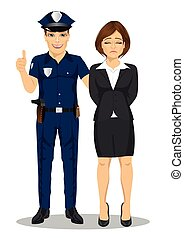 Policeman arresting businesswoman. White collar criminal isolated white background
