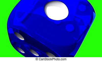Blue Dice On Green Chroma Key - Loop able 3DCG render...