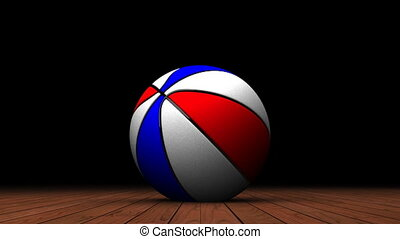 Bouncing Color BasketBall On Wooden Floor - Loop able 3DCG...