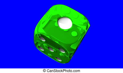 Green Dice On Blue Chroma Key - Loop able 3DCG render...