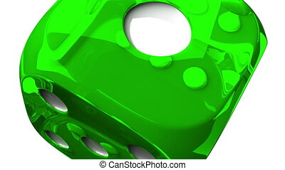 Green Dice On White Background - Loop able 3DCG render...