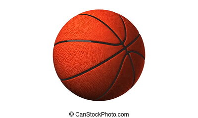 Basket Ball On White Background - Loop able 3DCG render...