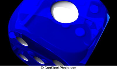 Blue Dice On Black Background - Loop able 3DCG render...