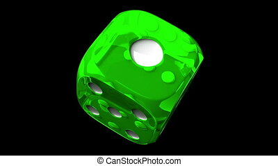 Green Dice On Black Background - Loop able 3DCG render...