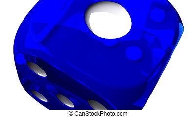 Blue Dice On White Background - Loop able 3DCG render...