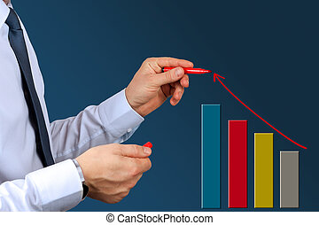 Businessman  drawing a virtual  graph by  a red pen