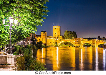 Castle Vecchio at summer night in Verona, Italy. Beautiful...