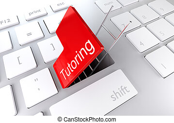 keyboard red enter key hatch ladder tutoring 3D Illustration...