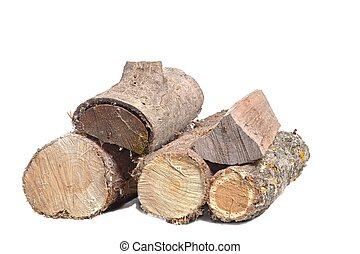 Log wood pile - Pile of logs cut for firewood isolated on...