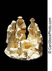A small porcelain nativity. - A small nativity scene with...
