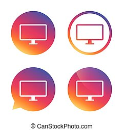 Computer widescreen monitor sign icon. Gradient buttons with...