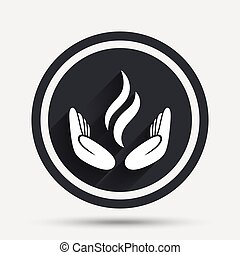 Energy hands sign icon. Power from hands symbol. Circle flat...
