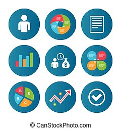 Bank loans icons. Fill document and get money. - Business...
