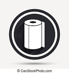 Paper towel sign icon. Kitchen roll symbol. Circle flat...