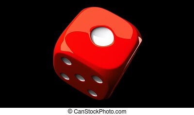 Red Dice On Black Background - Loop able 3DCG render...
