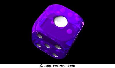 Purple Dice On Black Background - Loop able 3DCG render...