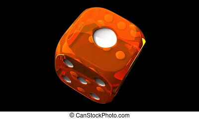 Orange Dice On Black Background - Loop able 3DCG render...