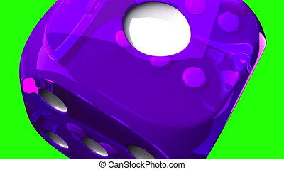 Purple Dice On Green Chroma Key - Loop able 3DCG render...