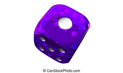 Purple Dice On White Background - Loop able 3DCG render...