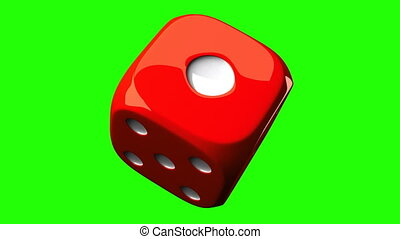 Red Dice On Green Chroma Key