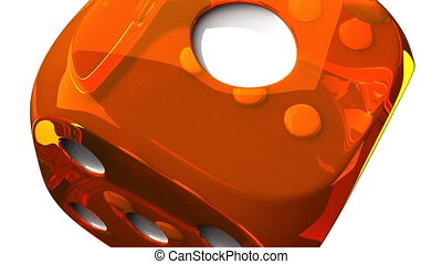 Orange Dice On White Background - Loop able 3DCG render...