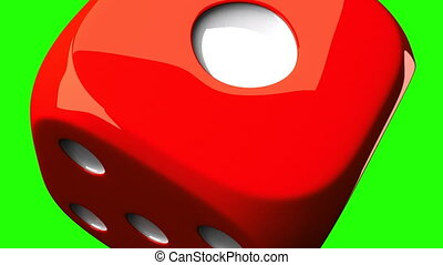 Red Dice On Green Chroma Key - Loop able 3DCG render...
