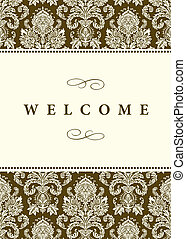 Vector Formal Damask Background - Vector damask frame with...