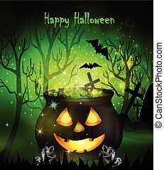 Halloween witches cauldron with Jack O Lantern face green...