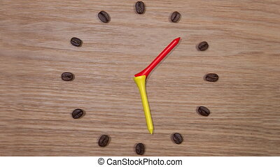 Coffee Time - Clock of coffee beans and wooden golf tees,...
