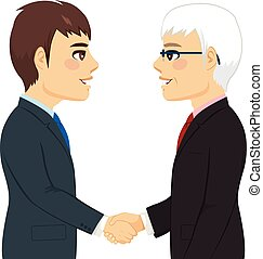 Shaking Hands Partnership - Portrait of two businessmen...