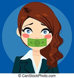 Businesswoman Silenced With Money - Young businesswoman...