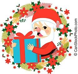 santa, Claus, regalo, Dar