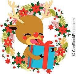 Dar, reno, navidad, regalo