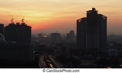 Timelapse of morning coming to Bangkok city, Thailand