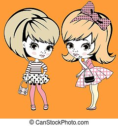 Two little girls gossiping - Two little retro girls...