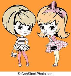 Two little girls gossiping