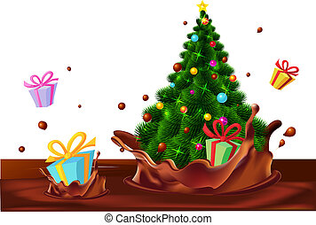 Christmas tree and gifts floating in chocolate splash -...