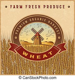 Vintage colorful wheat harvest label
