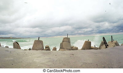Concrete tetrapods breakwater and jetty - RUSSIA,...