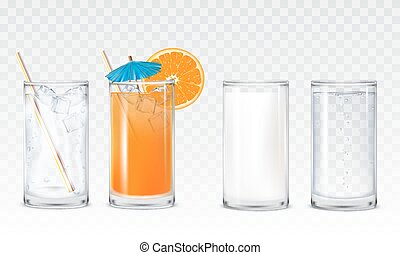 Set icons glasses with water, juice and milk - Set of vector...