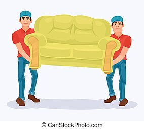 Two men carries a sofa - Vector illustration two men carries...